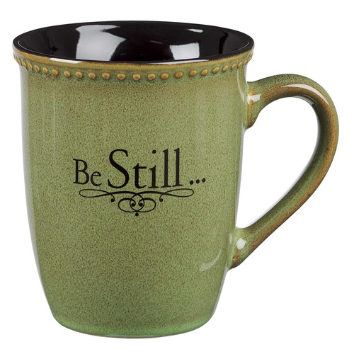 Be Still Sage Green Stoneware Coffee Mug - Psalm 46:10