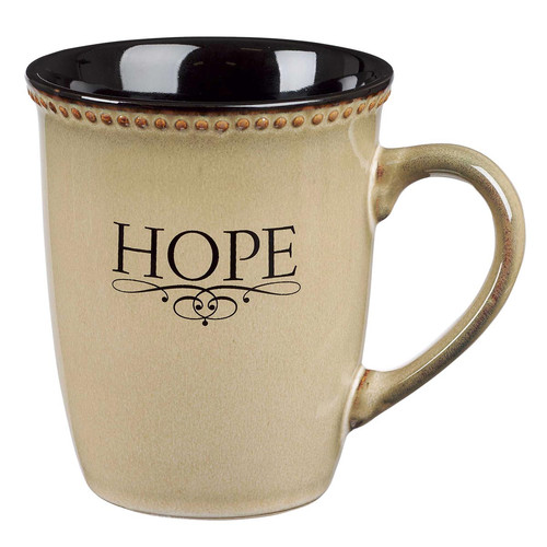 Hope Ivory Stoneware Coffee Mug - Hebrews 6:19