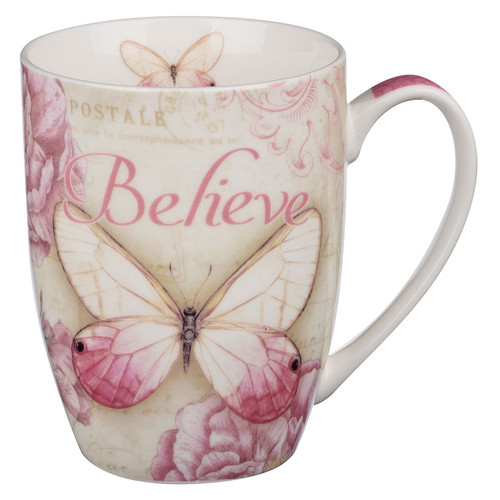 Believe Pink Butterfly Coffee Mug - Mark 9:23