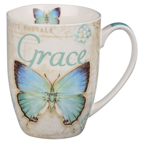 Butterfly Grace in blue Ephesians 2:8 Coffee Mug