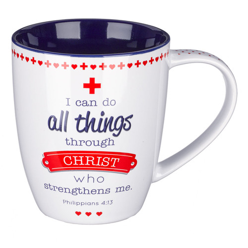 Blessings for Nurses Inspirational Philippians 4:13 Coffee Mug