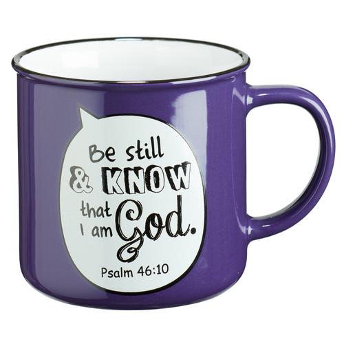 Be Still Scripture Bubble in Purple Ceramic Psalm 46:10 Coffee Mug