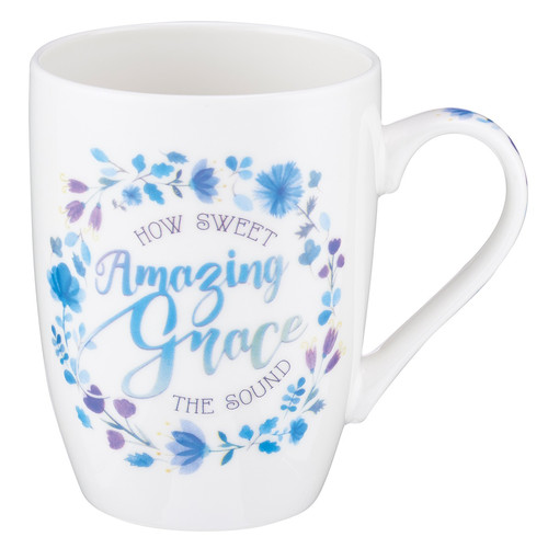 Blue Floral Amazing Grace Coffee Mug