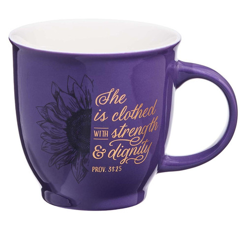 She is Clothed with Strength & Dignity Purple Ceramic Mug - Proverbs 31:25