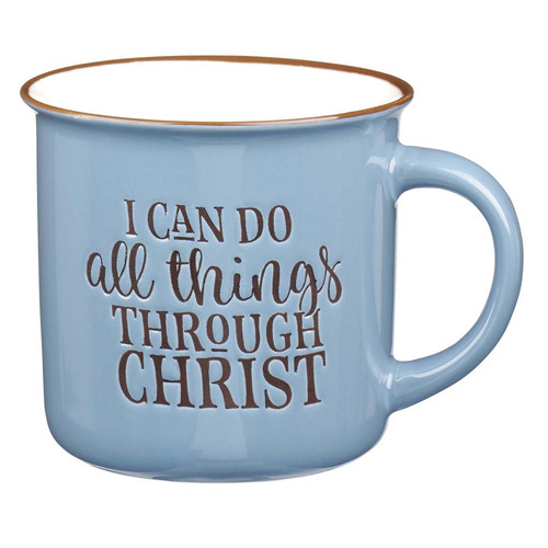 I Can Do All Thing Through Christ Blue Camp Style Coffee Mug - Philippians 4:13