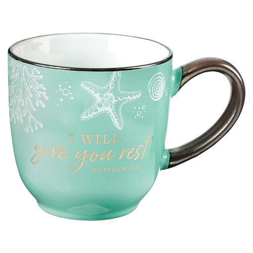 Give You Rest Coffee Mug in Sea Foam Green - Matthew 11:28