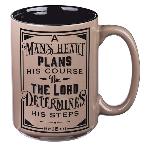 A Mans Heart Ceramic Coffee Mug in Brown - Proverbs 16:9