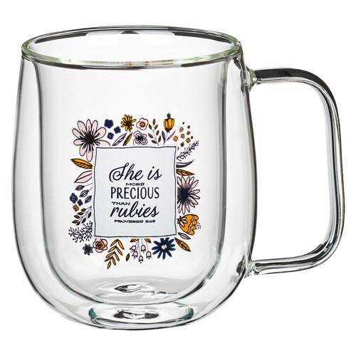 She is More Precious than Rubies Double-walled Glass Mug - Proverbs 31:15