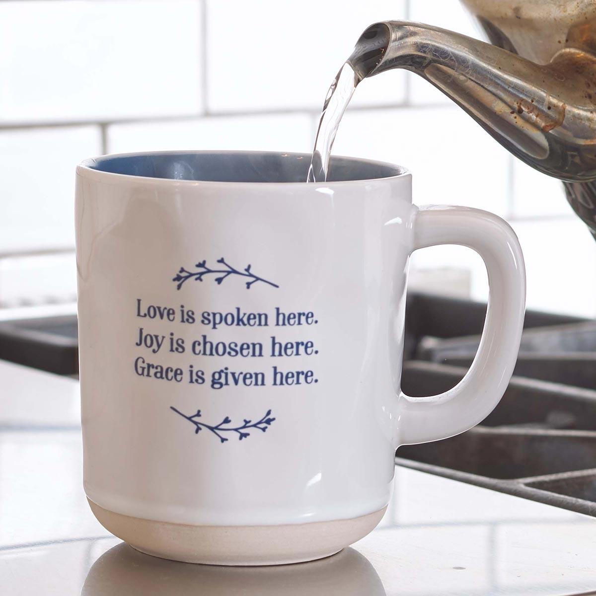 Love Joy Grace Clay Dipped Ceramic Mug In Blue
