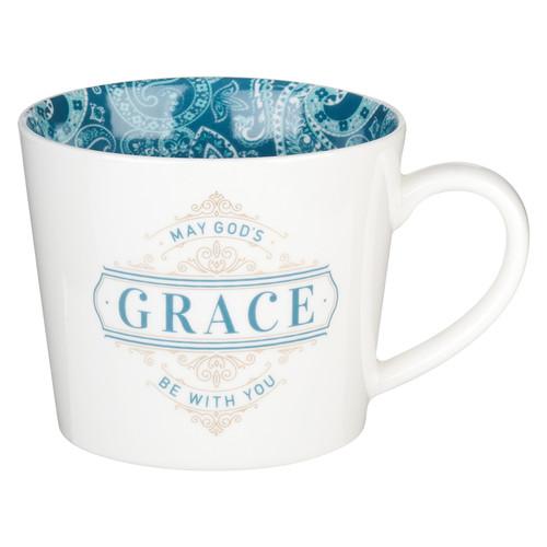 Gods Grace Teal Paisley Ceramic Coffee Mug