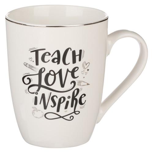 Teach Love Inspire Black and White Ceramic Mug