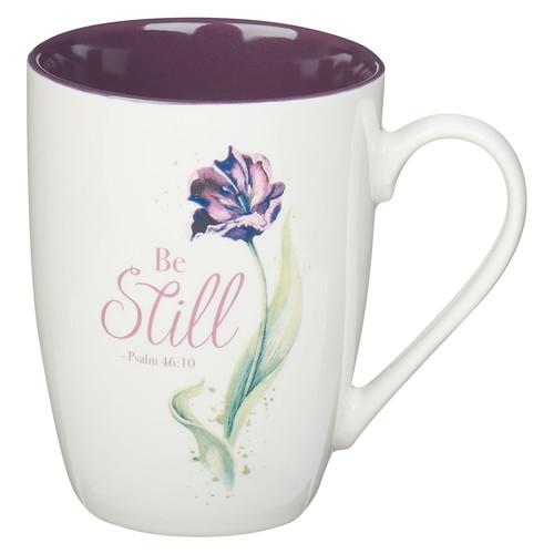 Purple Bloom Be Still Ceramic Coffee Mug – Psalm 46:10