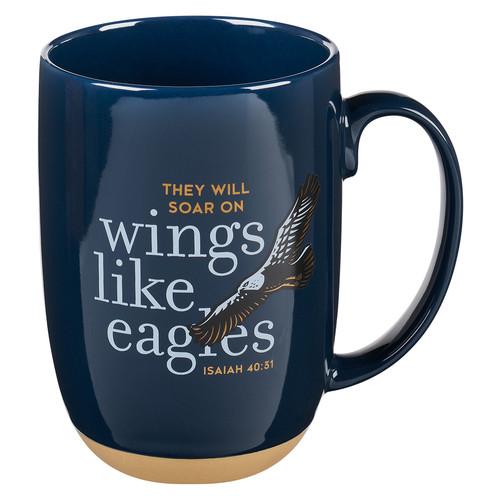 On Eagles Wings Navy Blue Ceramic Coffee Mug - Isaiah 40:31