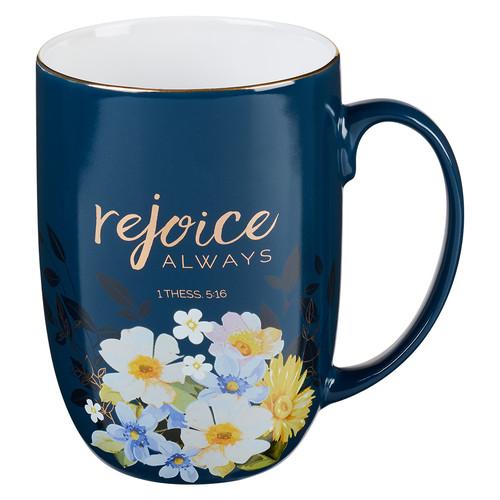 Rejoice Always Blue Ceramic Coffee Mug – 1 Thessalonians 5:16