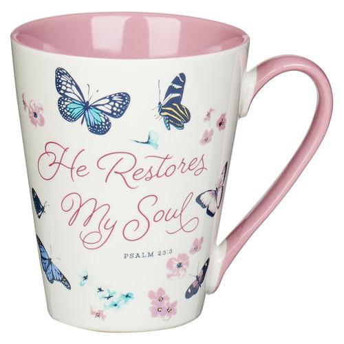 He Restores My Soul Butterfly Ceramic Coffee Mug – Psalm 23:3
