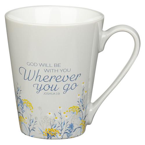 God Will Be With You Taupe Ceramic Coffee Mug – Joshua 1:9