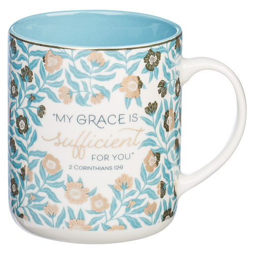 Sufficient Grace Teal Ceramic Coffee Mug – 2 Corinthians 12:9