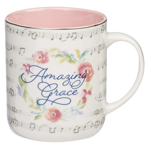 Amazing Grace Floral Wreath Ceramic Coffee Mug