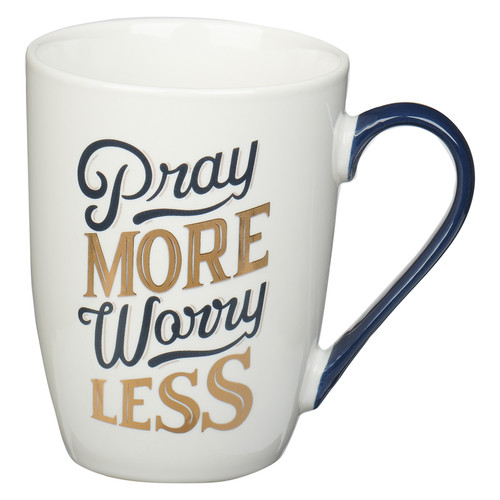 Pray More Worry Less Navy and Gold Ceramic Coffee Mug