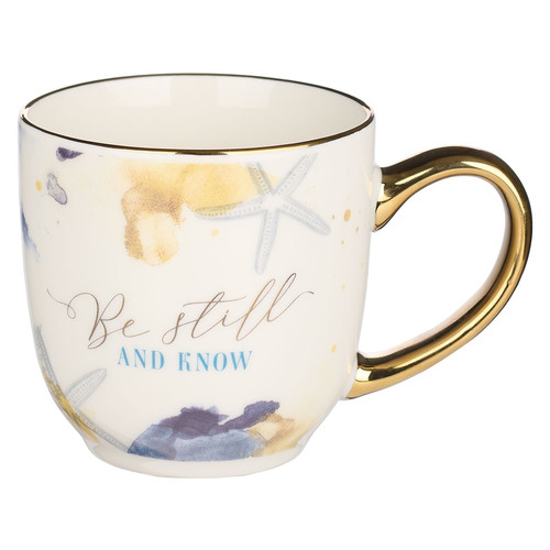 Be Still Watercolor Ocean Ceramic Mug - Psalm 46:10