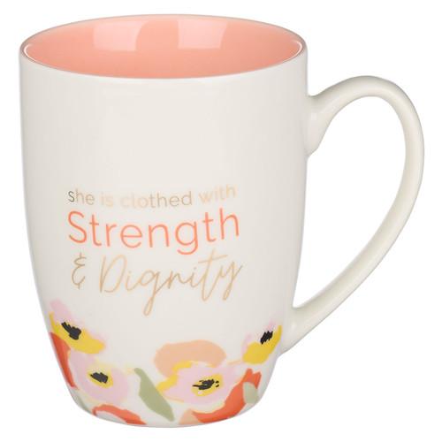 Strength & Dignity Peach Poppy Ceramic Mug - Proverbs 31:25