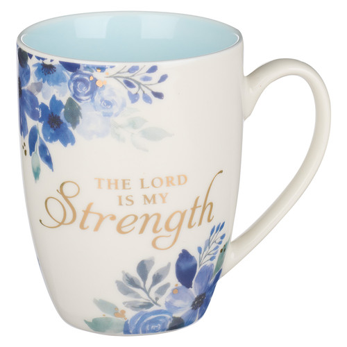 The Lord is My Strength Blue Floral Ceramic Coffee Mug - Psalm 28:7