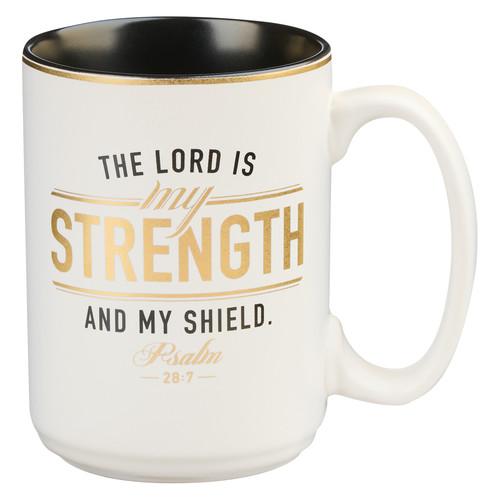 Strength and Shield White and Black Ceramic Coffee Mug - Psalm 28:7
