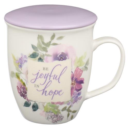 Be Joyful in Hope Lilac Lidded Ceramic Coffee Mug - Romans 12:12