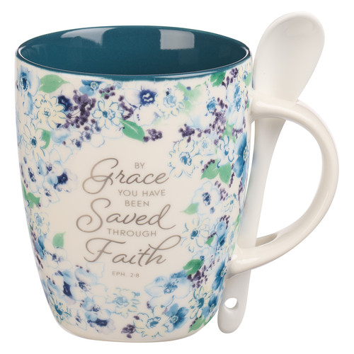 Saved by Grace Blue Floral Ceramic Coffee Mug with Spoon - Ephesians 2:8
