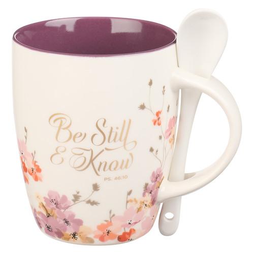Be Still & Know Purple Floral Ceramic Coffee Mug with Spoon - Psalm 46:10
