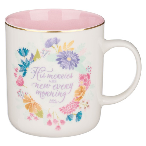 His Mercies Floral Wreath Ceramic Coffee Mug - Lamentations 2:22-23