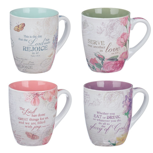 Floral Inspirations Four Piece Coffee Mug Set