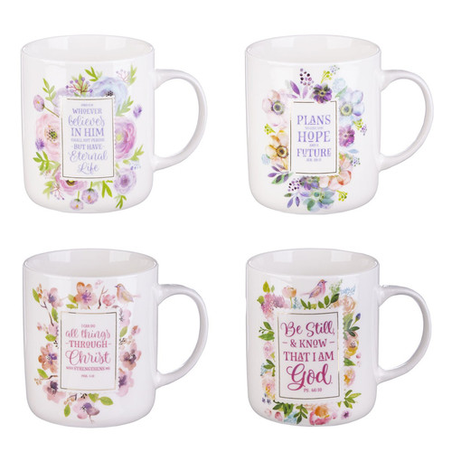 Four Piece Inspirational Floral Mug Set