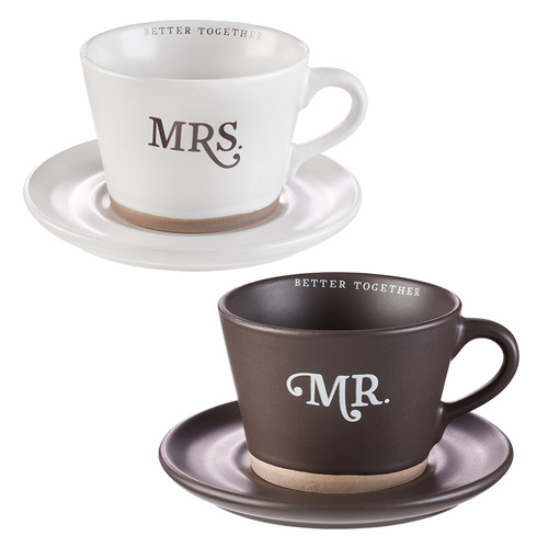Better Together Mr. & Mrs. Two Piece Coffee Mug and Saucer Set