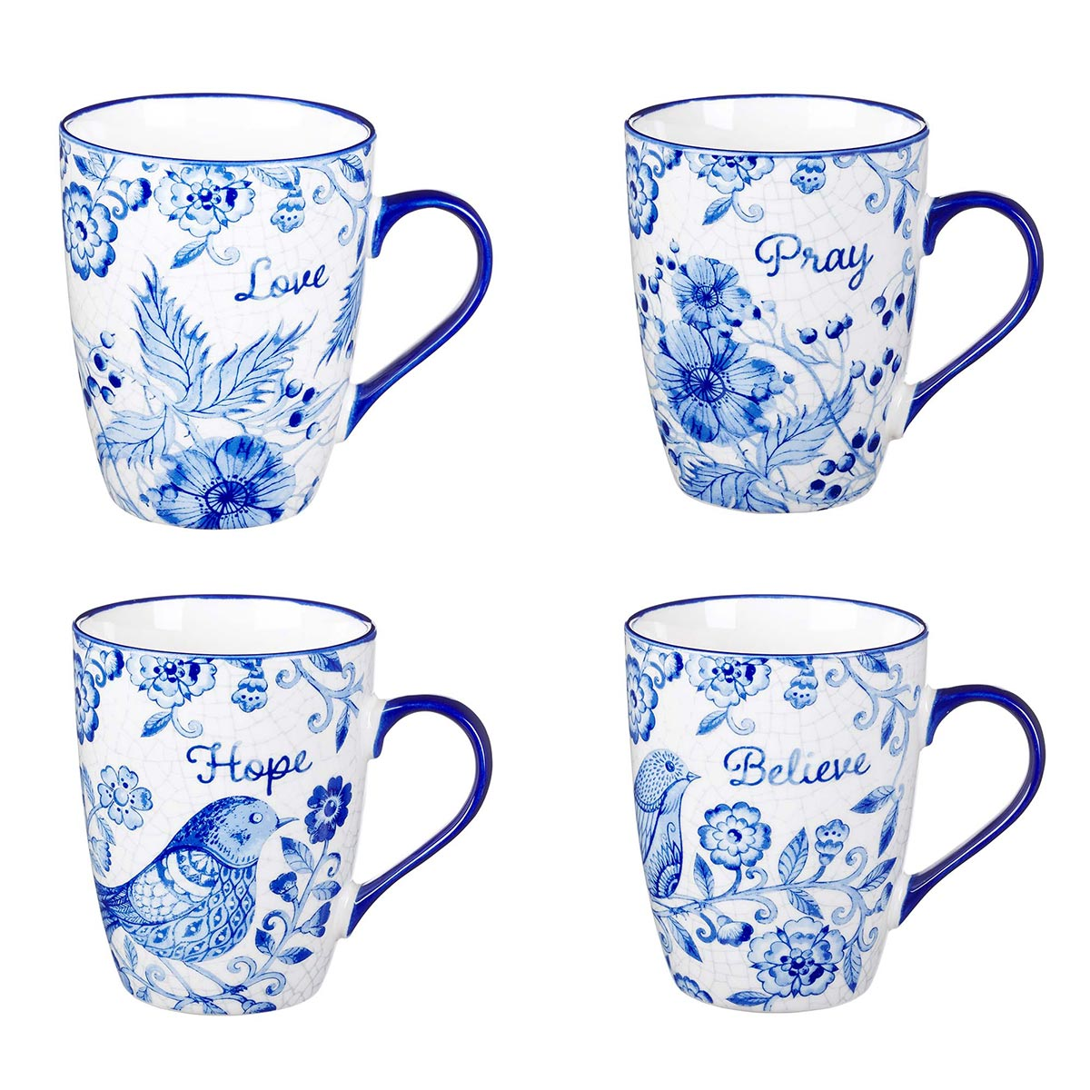 Believe Hope Pray Love Ceramic Mug Set In Blue