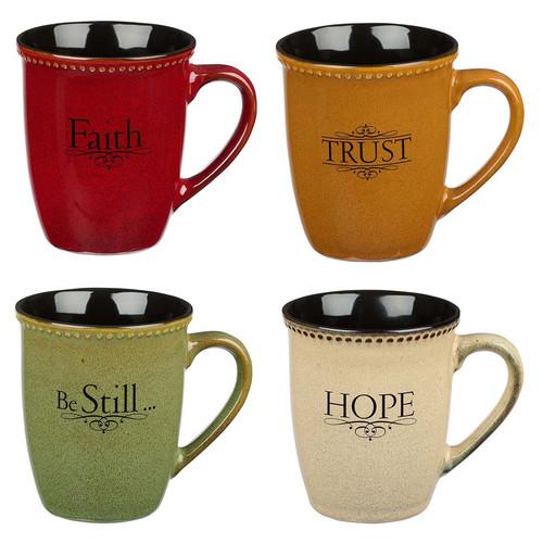 Faith, Hope, Trust & Be Still Stoneware Mug Set
