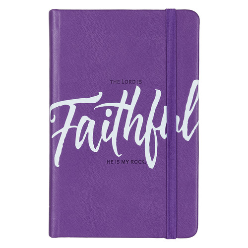 Faithful Hardcover LuxLeather Notebook with Elastic Closure in Purple