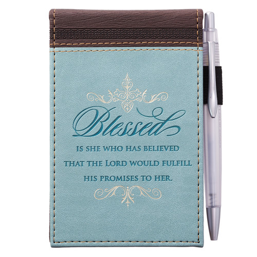 Blessed LuxLeather Pocket Notepad - Lk 1:45