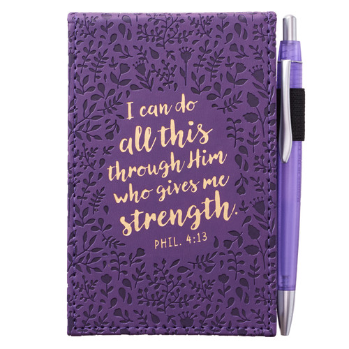 Purple LuxLeather pocket Notepad with Pen