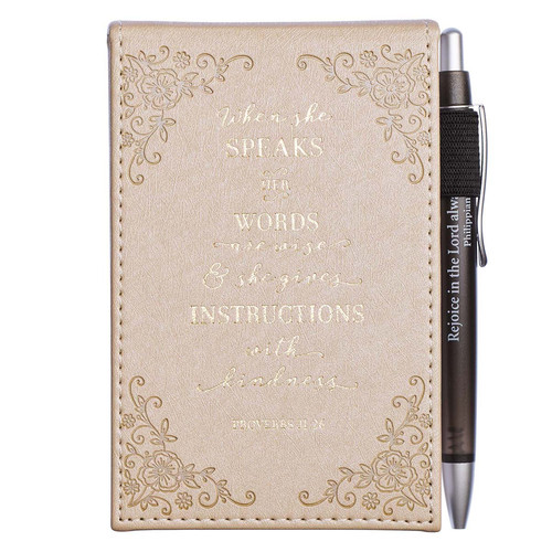 When She Speaks Faux Leather Notepad and Pen - Proverbs 31:26
