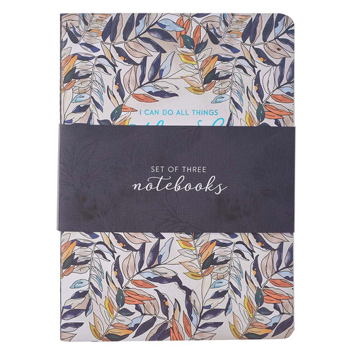 Through Christ Navy Floral Large Notebook Set - Philippians 4:13