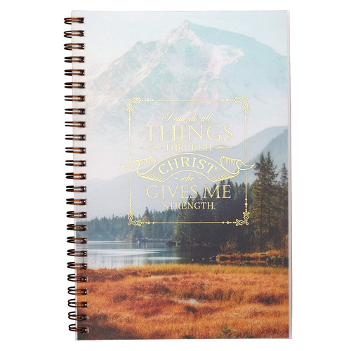 All Things Through Christ Wirebound Notebook - Philippians 4:13