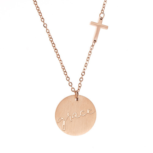 Grace Cross And Disc Necklace
