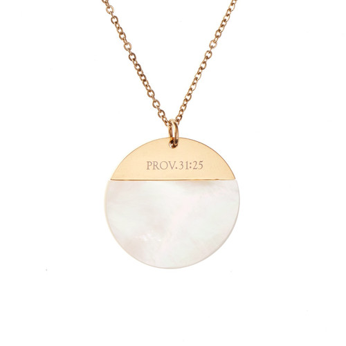 Mother Of Pearl Shell Necklace - Proverbs 31:25