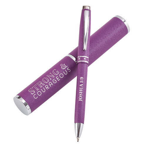 Strong & Courageous Purple Gift Pen – Joshua 1:9