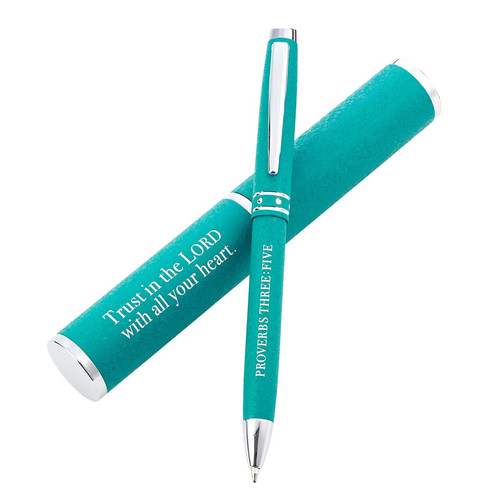 Trust In The Lord Teal Gift Pen – Proverbs 3:5