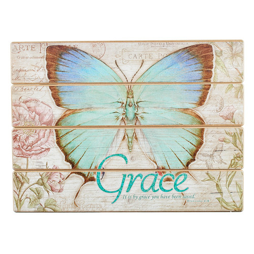 Butterfly Blessings Grace Wall Plaque - Ephesians 2:8