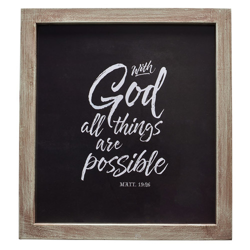 With God All Things Possible Wall Plaque - Matthew 19:26