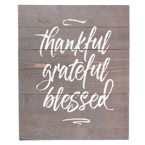 Thankful Grateful Blessed Plank Wall Art