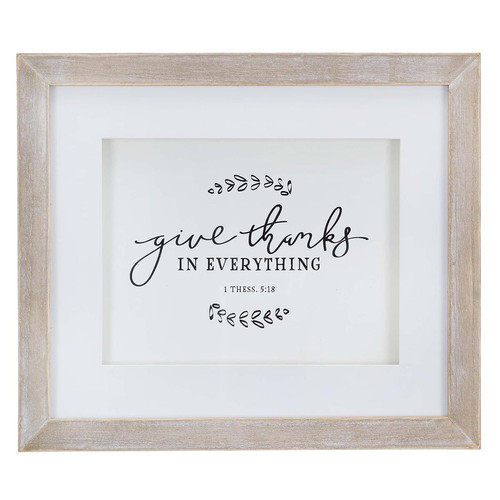 Give Thanks Wood Framed Wall Art with Glass Overlay - 1 Thessalonians 5:18